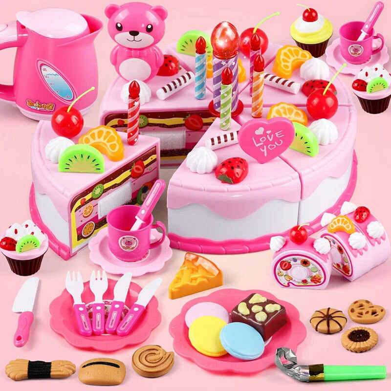 Children Pretend Play Toy Plastic Kitchen Birthday Cake Cutting Fruit Food Miniature Educational Toys Diy Creative Gift for Girl