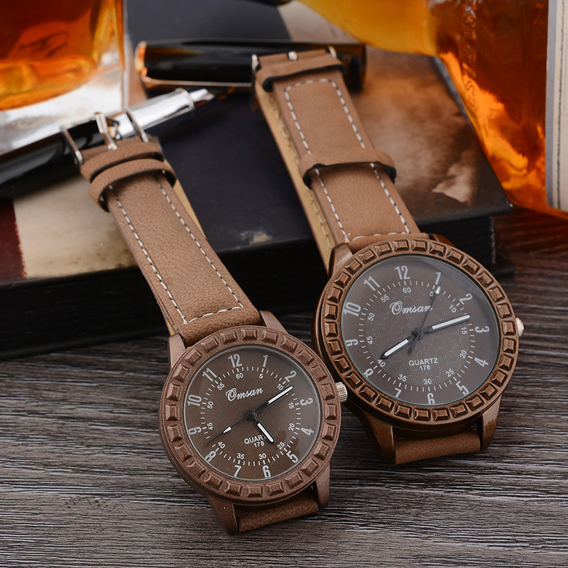 Lover Watches 2018 Fashion Leisure Retro Women Watch Men Coffee Leather Sports Quartz Watch Relogio Masculino Montre Femme