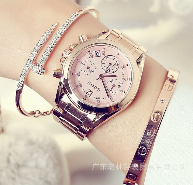 Ladies Brand Casual Fashion Full stainless Wrist Watches Waterproof Luxury Gold Business Clocks Relogio Masculino Quartz