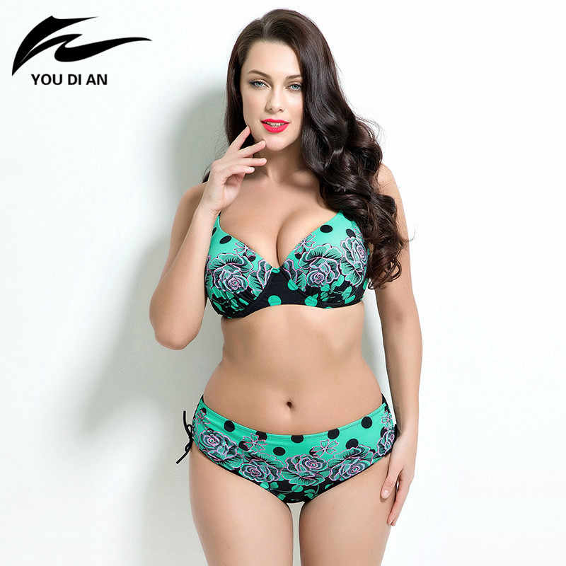 06aeb86831d37 sexy printed plus size bikini set women Bathing Suit Push up biquini women  Super Large Cup