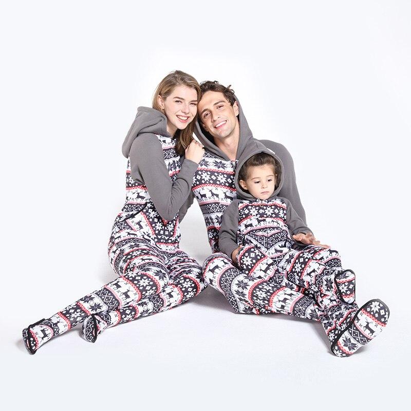 Parent-child Winter 2019 New Plus Velvet Pajamas Comfortable Snowflake Plush Color Onesie Christmas Pajamas Hooded With Feet