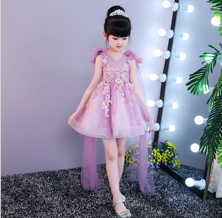 Violet Tulle Flower Girl Dress Long Trailing Princess Ball Gown Party Wedding Dress First Communion Dresses for Girl first holy communion dress long trailing flower girl dresses wedding floral beading party gowns layered ball gown princess dress