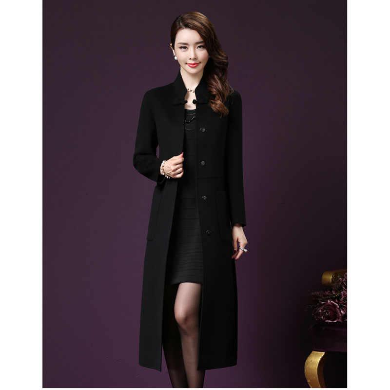 Yün trençkot orta uzun sonbahar kış moda yeni high-end büyük boy diz rahat yün kaşmir yün ceket ODFVEBX