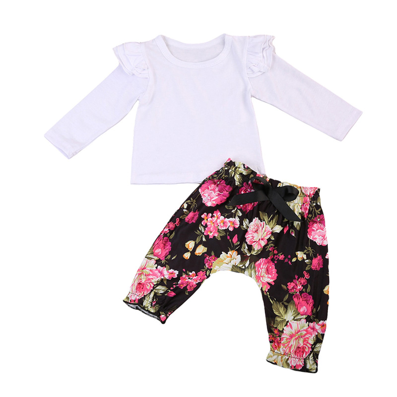 Lovely Newborn Baby Girls Clothes Cotton Tops T-shirt Floral Leggings Trousers Outfits Clothes