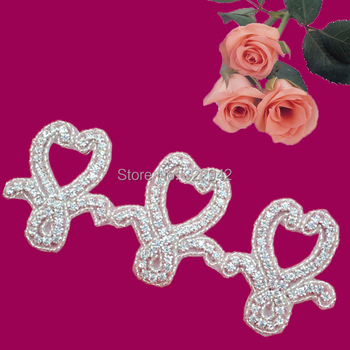 Free Shipping beaded Sew On Crystal Rhinestone Applique motif Shiny For Wedding Dress Belt Clothing Accessories