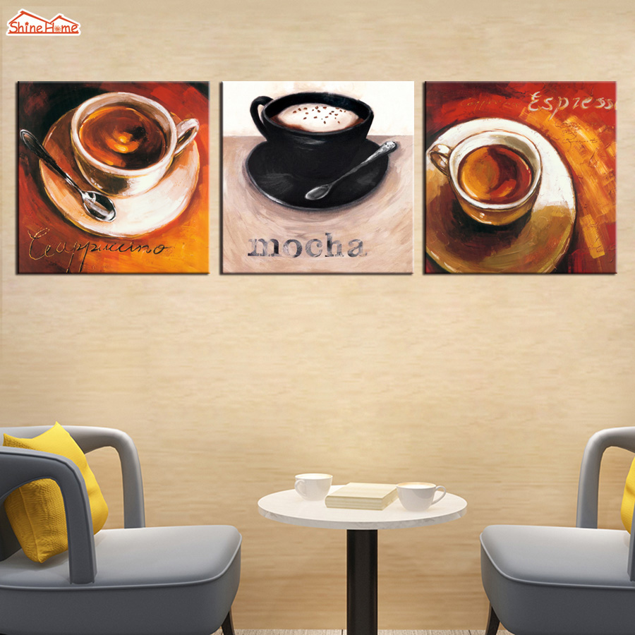 ShineHome 3pcs Wall Art Canvas Printing Vintage Oil Painting Picture Posters Prints For Cafe Coffee Restaurant Dining Room Decor