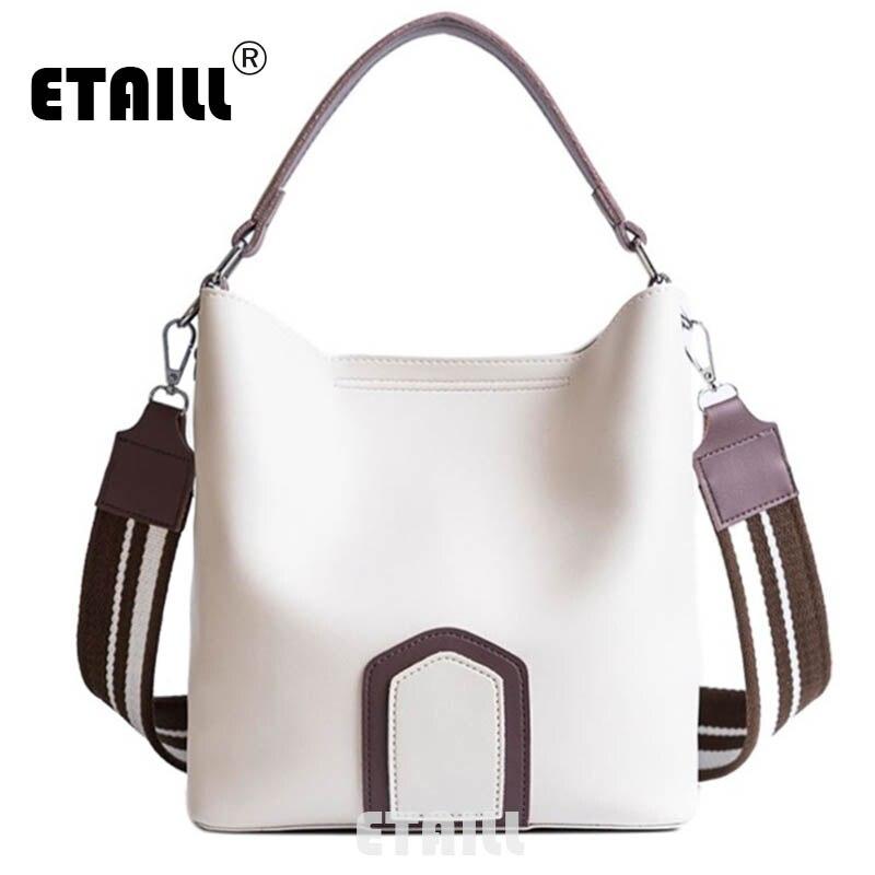ETAILL Fashion Stripe Wide Strap Bucket Bag Retro Top Handle Shoulder Bag Simple Crossbody Bag Pu Leather Designer Messenger Bag shoulder bag