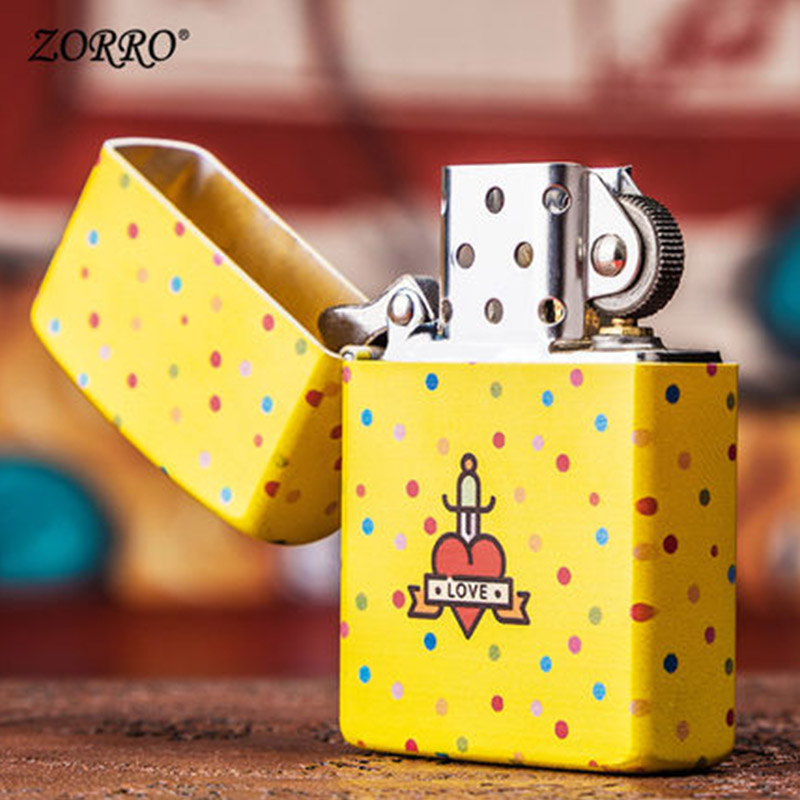 cool lighters Kerosene cigarette lighter windproof gasoline oil petrol refillable lighter with Love painting as gift for couples in Lighters from Home Garden