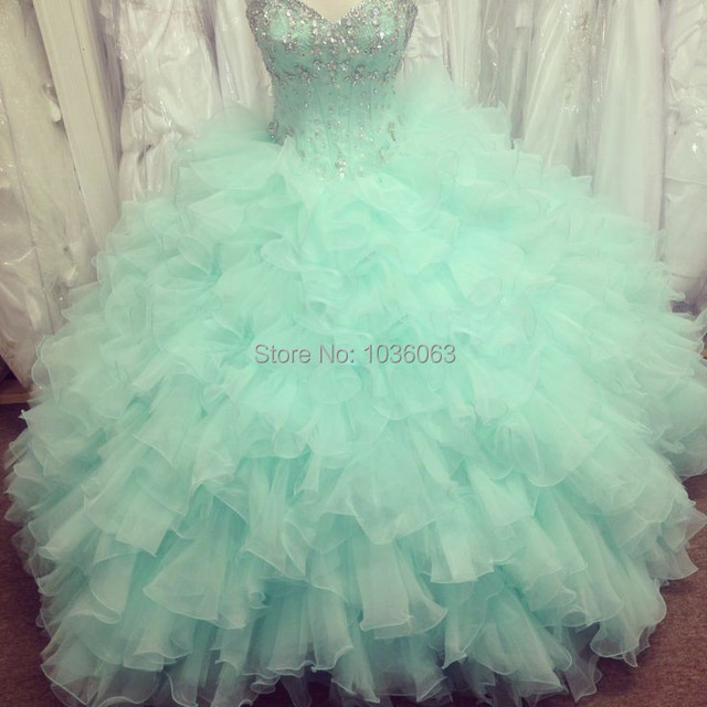 Imagem real Vestidos Quinceanera 2015 Ligh Verde Oganza Masquerade Vestidos De Baile Vestidos De 15 Anos Vestido de Festa Para 15 Anos