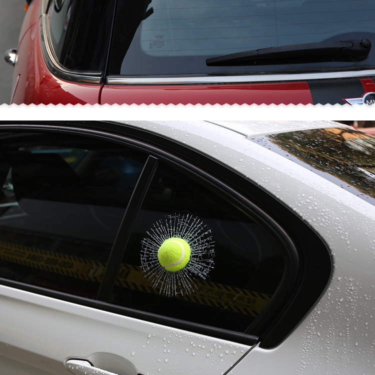 Funny 3d car stickers auto car styling ball hits car body window sticker self adhesive baseball tennis decal accessories in car stickers from automobiles