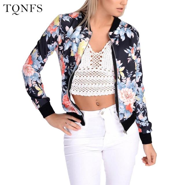 2016 Moda Outono mulheres Jaqueta Bomber Floral Básico Fino Business Casual Mulheres Jaqueta Top Coat Outwear Camperas Mujer Abrigo