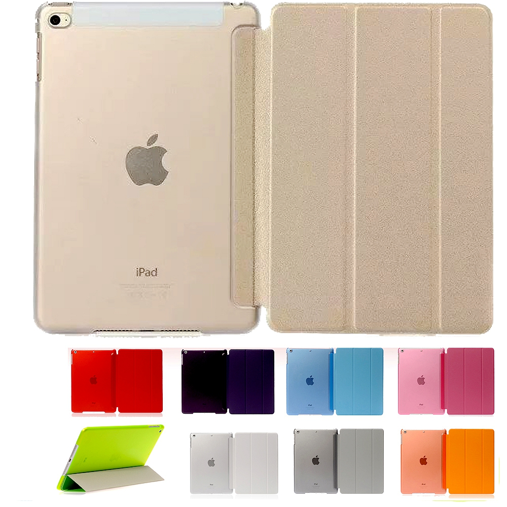 Ultra Slim Smart Cover For Apple New iPad Mini 4 PU Leather Magnetic Stand Funda Cases + Crystal tablet PC Case For Ipad Mini 4 nice soft silicone back magnetic smart pu leather case for apple 2017 ipad air 1 cover new slim thin flip tpu protective case