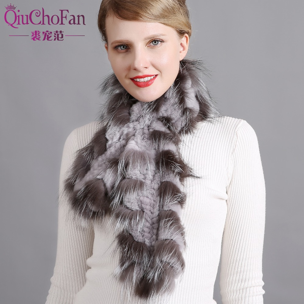 Best selling Women's Winter Fox Fur Scarf Handmade Genuine Rex Rabbit Scarf Wrap Natural Fox Fur Scarf Winter free shipping