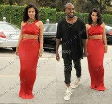 Zweiteiler Prom Kleider Lange Abendkleider 2015 High Neck Mantel Kim Kardashian Gefaltete Lange Abendkleid Vestido Longo