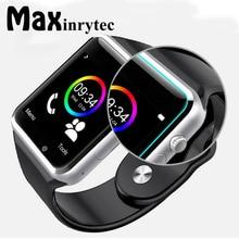 Купить онлайн Maxinrytec A1 Смарт-часы Мужчины Wirst часы с сим Камера SmartWatch русский T15 связаны для IOS телефона Android WhatsApp