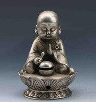 Китайское тибетское серебро ручной резной благовоний горелка и Сидящая крышка Будды