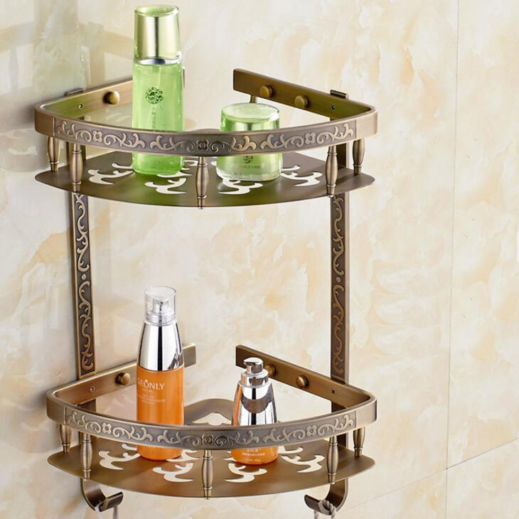 Superb Online Shop Wall Mounted Brass Bathroom Soap Dish Dual Tier Bath Shower  Shelf Carved Bath Shampoo Holder Basket Holder White Corner Shelf |  Aliexpress ...