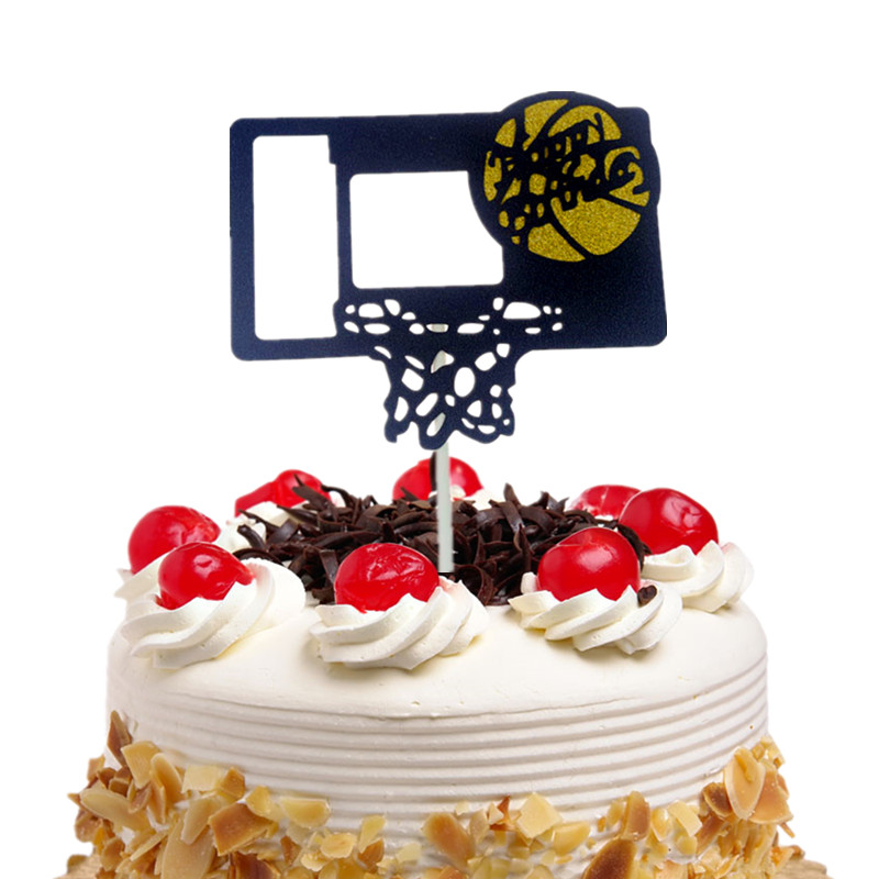 Cake Toppers Flags Happy Birthday Basketball Cupcake Cake Topper Kids Gift Wedding Bride Party Baby Shower Baking DIY Decor Xmas in Cake Decorating Supplies from Home Garden