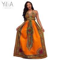 Yilia 2018 Summer Women Long Dress New Fashion African Print Dashiki Maxi Party Dresses Halter Floor