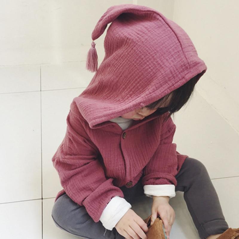 Осень 2017 г. дети девочка мальчик Куртки детские пальто для девочек с капюшоном хлопковый кардиган пальто ребенка пальто Детская Верхняя оде...