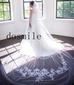 New 3 Meters Appliques velo de novia Lace Edge Purfles Long White&Ivory Tulle Cathedral Wedding Veils Bridal Mantilla Free Comb