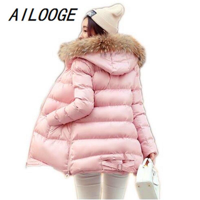 Femmes Parka 1 Hiver Rembourré Veste Mujer Coton 3 Nouveau Ailooge 4 Court Style Manteau 2017 De Réel 2 Capuchon Abrigos Fourrure TwXxq0