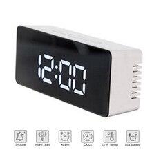 Creative LED Alarm Clock Multifunction Digital Electronic Kit Night Light Thermometer Display Mirror Home Timer