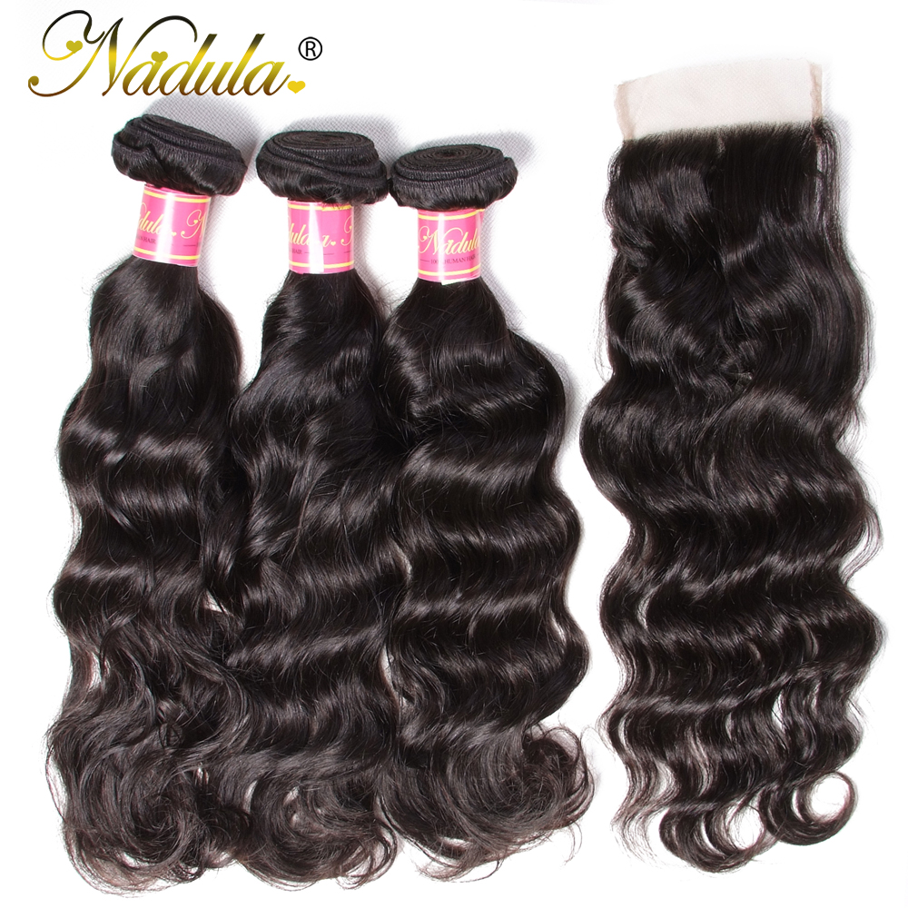 Nadula Hair With Closure Peruvian Natural Wave Hair With Closure 3 Bundles Remy Human Hair With