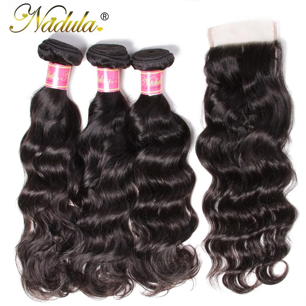 Nadula Hair With Closure Peruvian Natural Wave Hair With Closure 3 Bundles Remy Human Hair With