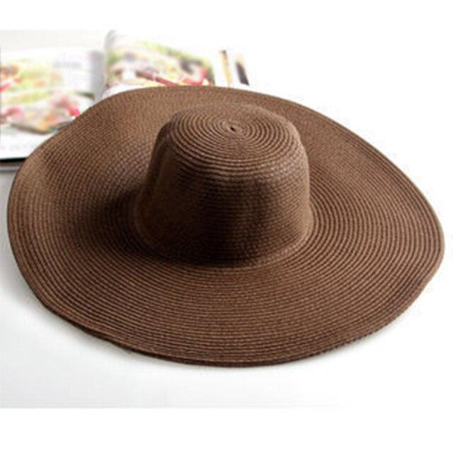 Nuova Estate casuale Delle Signore Delle Donne Largo Pieghevole Grande cappello  Floscio Cappello Della Spiaggia Del 399e88f352cc