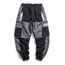 outdoor 2019 elastic waist drawstring patchwork track multi pocket teenagers camping hking trekking boys loose cargo pants men цена
