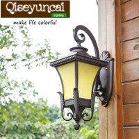 Qiseyuncai 유럽 스타일 빌라 방수 야외 led 알루미늄 벽 램프 레트로 미국 정원 안뜰 램프