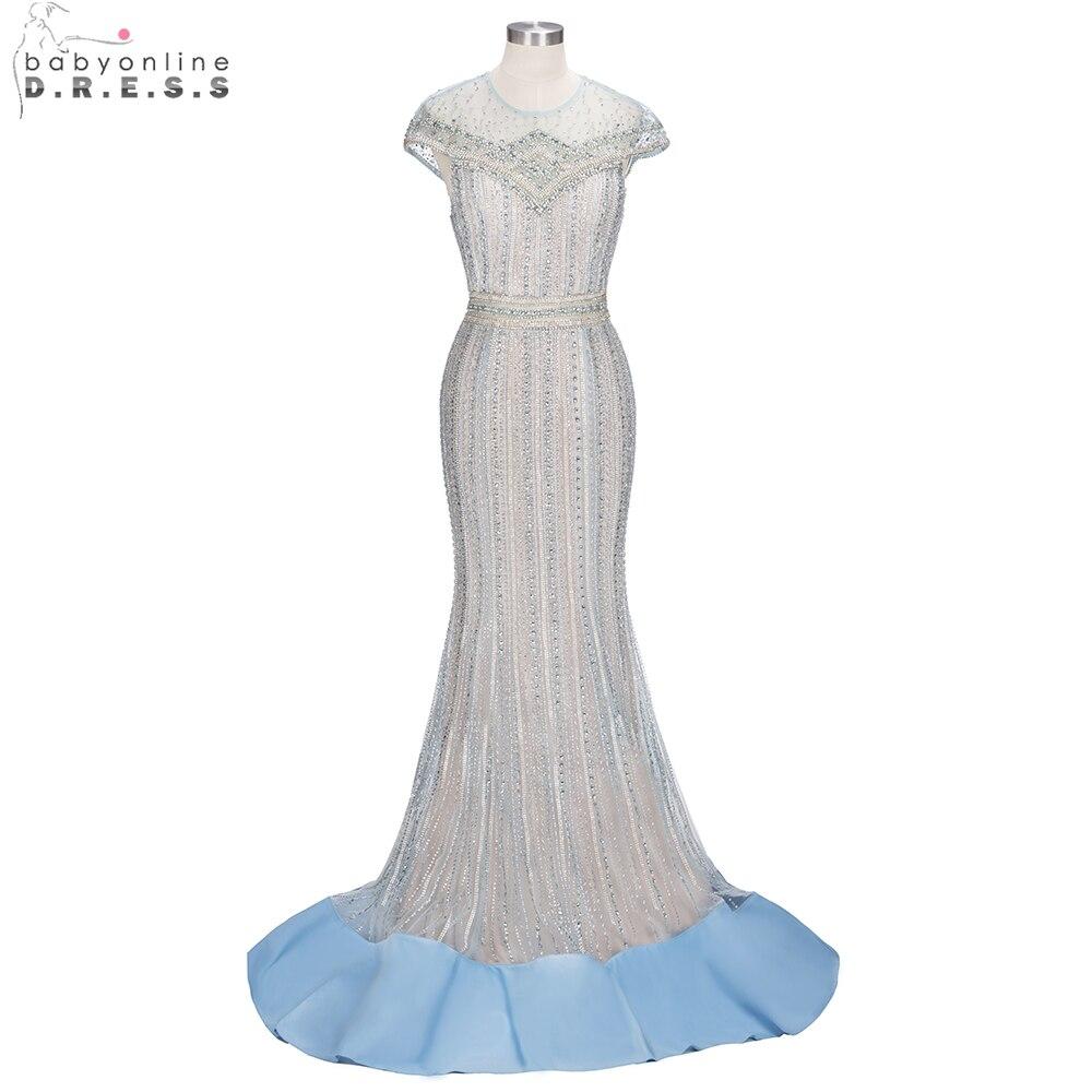 Luxueux Cap manches sirène robes de soirée longue lourde perlée cristal robes de soirée formelle robe de soirée vestido de festa 2019