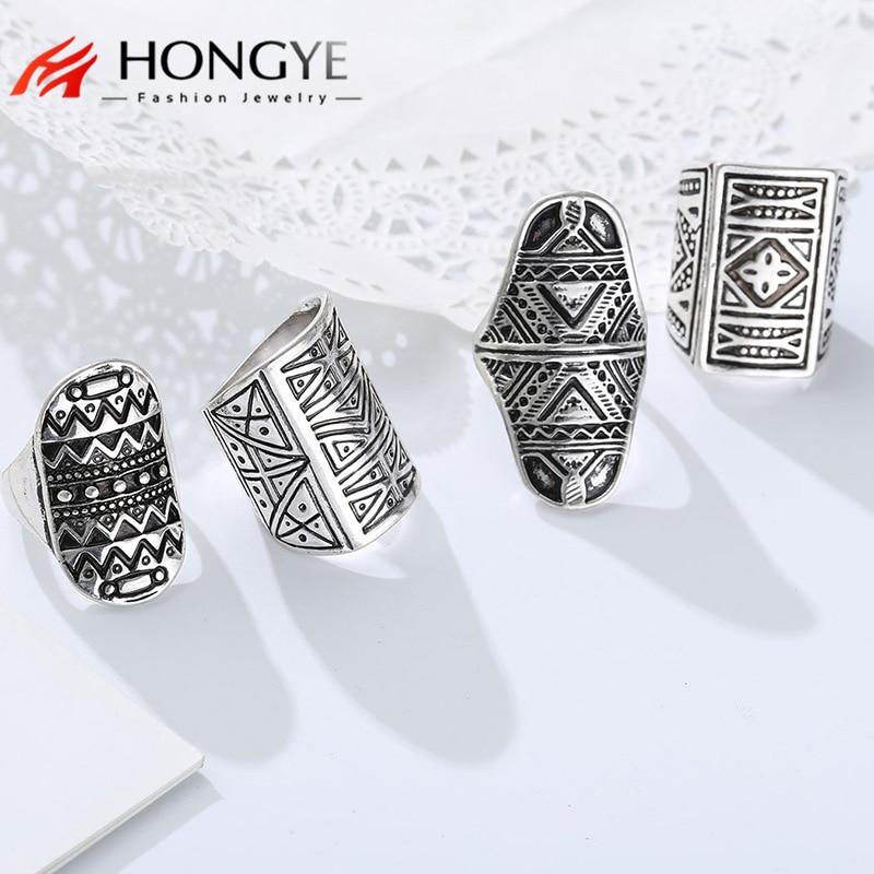 New Bohemian Brand Design Vintage Ring Set Antique Gold Silver Statement Rings For Women/Men 4 PCS Punk Boho Ring Sets jewelry