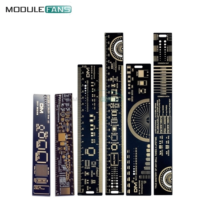 1Set 15cm 20cm 25cm Multifunctional PCB Ruler Measuring Tool Resistor Capacitor Chip IC SMD Diode Transistor Package 180 Degrees