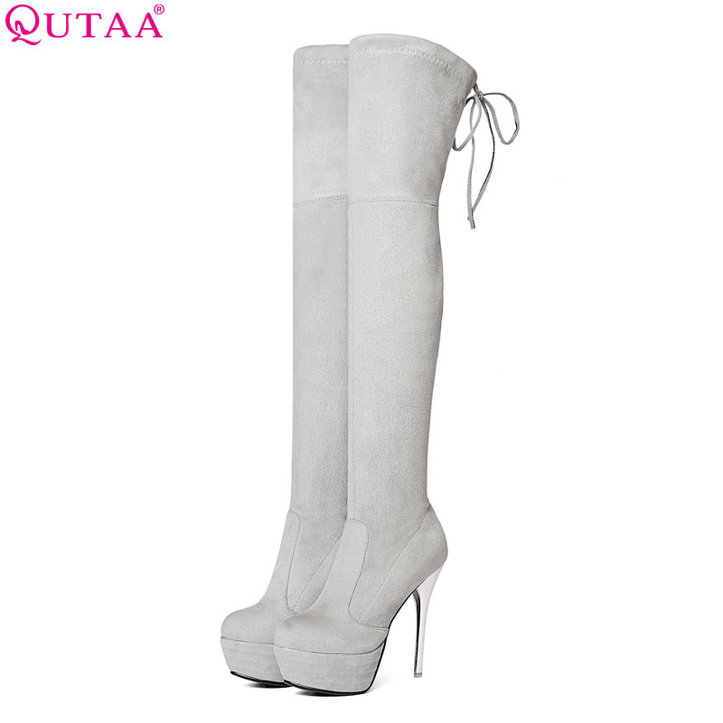 QUTAA 2019 Spring Women Over The Knee Boots Elastic band Thin High Heel Elegant Women Party Shoes Black Winter Warm Size 34-43 2017 spring elastic frayed skinny jeans women classic high rise with rips two colors
