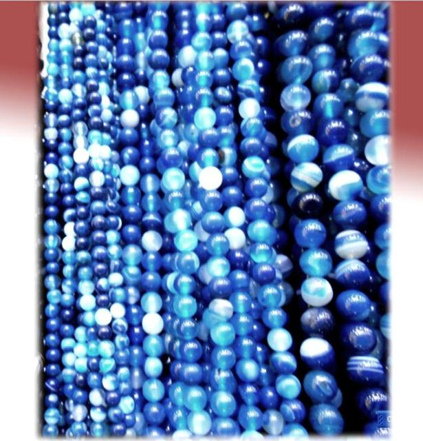 4MM 6MM 8MM 10MM 12MM Natural Blue Striped Stones Round Spacer Loose Beads  For Necklace Bracelet Charms Jewelry Making