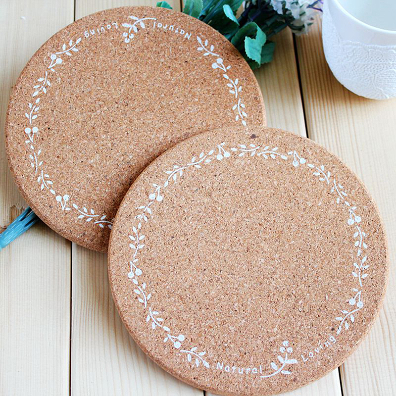 High Quality Japan Zakka Style Soft Wood Printed Pot Cup Mug Plate Placemat Coasters Round Dining Table Placemats Table Mats 1pc