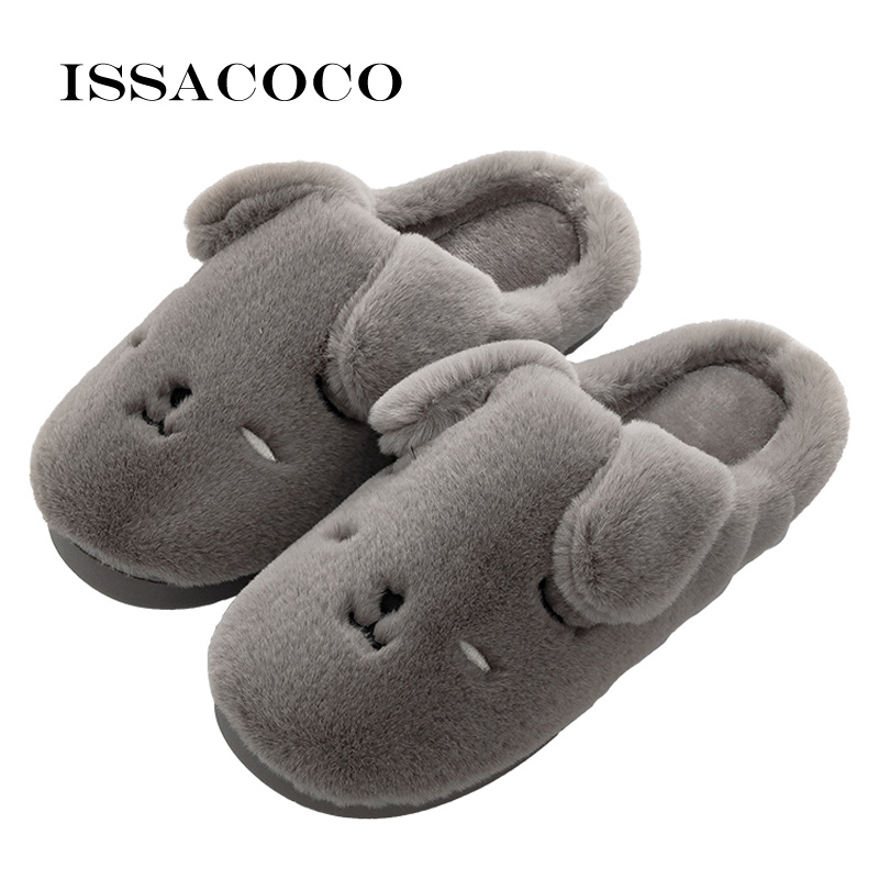 ISSACOCO Men Slippers Cute Dog Shape Home Soft Slippers Men Shoes Winter Warm Shoes Lovers Home Slippers Pantuflas Zapatillas fghgf shoes men s slippers mak
