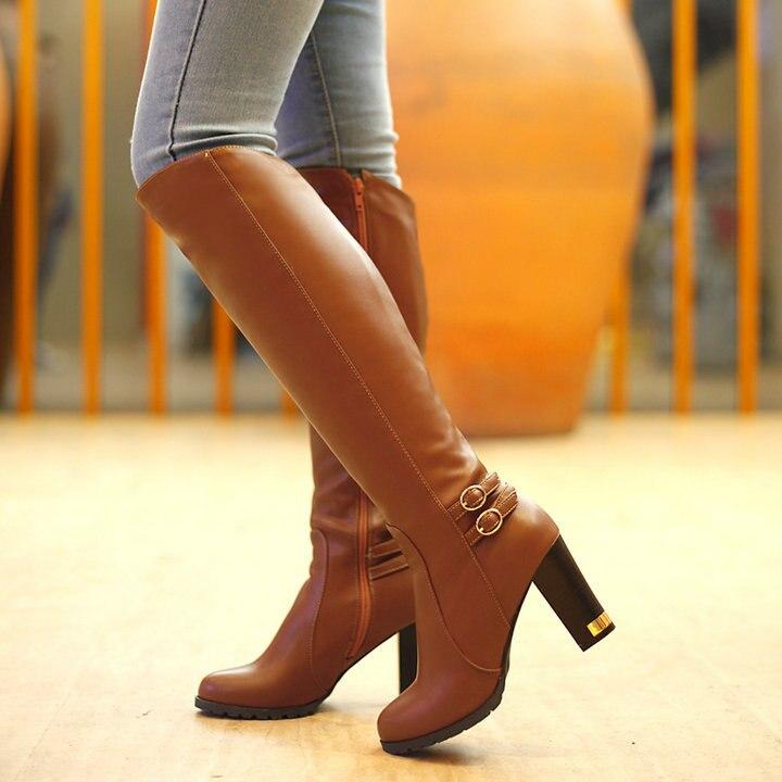 biack brown Beige Éclair De Abricot Talon Noir D'hiver 2016 Chaussures Haut Top Bottes Femme Sexy Genou Fermeture Neige L'intérieur Chaud Fourrure Brun Mode À Femmes wFqSgBw