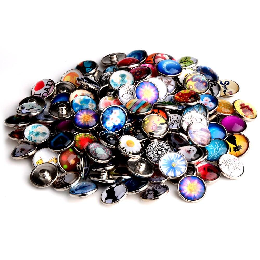 Chanfar Mixture18mm verre bouton pression charme pour bricolage bouton pression bijoux Bracelet