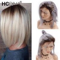 Ombre Серый Короткие человеческих волос Боб парик 1B/серый прямо Синтетические волосы на кружеве парики с волосами младенца 13*4 бразильские кор