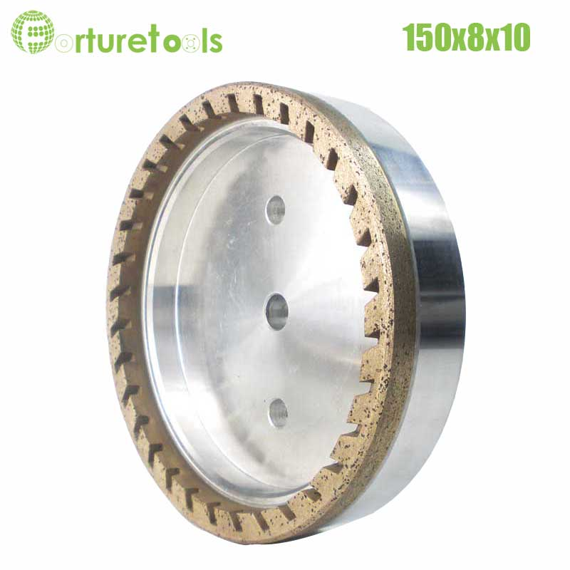 1pc half segment 2# diamond wheel for glass edger Dia150x8x10 hole 12/22/50 grit 150 180 China manufacturer forturetools BL009 4 inch 6 inch straight cup diamond grinding wheel for glass edger straight line double edging beveling machine m009