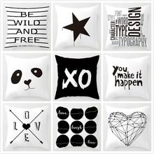 Letter Love Home Cushion cover Cotton linen Black White pillow cover Sofa bed Nordic decorative pillowcase 45x45cm almofadas недорого