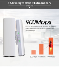 2pcs 900Mbps 5.8Ghz Outdoor Wireless AP Bridge 5KM WIFI CPE Access Point 12dBi WI-FI Antenna Nanostation COMFAST CF-E313AC