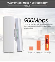 2 adet 900Mbps 5.8Ghz açık kablosuz erişim noktası köprü 5KM WIFI CPE erişim noktası 12dBi WI-FI anten Nanostation CPE COMFAST CF-E313AC