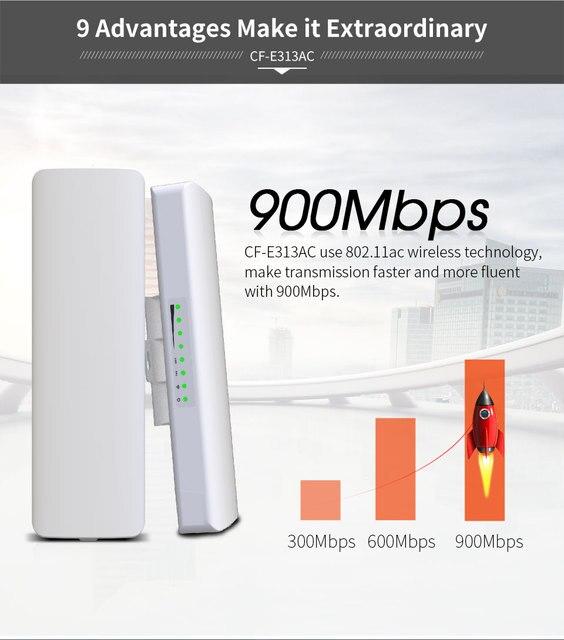 Pont AP sans fil, 2 pièces, 900 mb/s, 5.8Ghz, extérieur, 5KM WIFI CPE Point daccès 12dBi, antenne WI FI, Nanostation CPE COMFAST CF E313AC