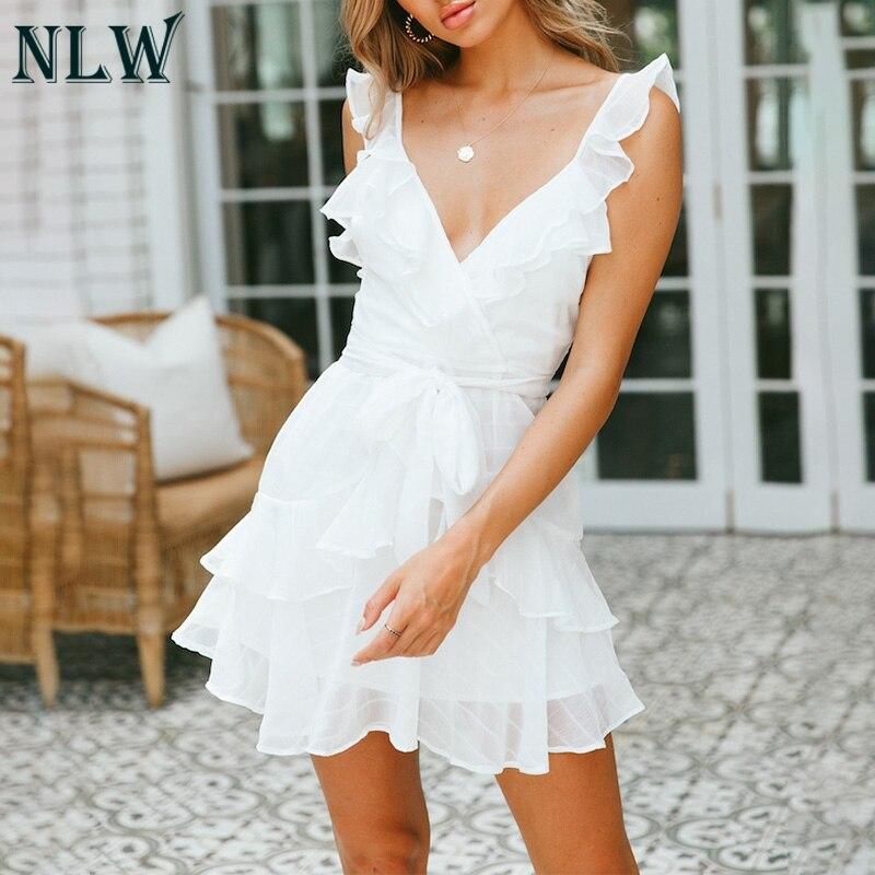 NLW Deep V Neck Yellow Sexy Dress Ruffle Bow Women Dress  1