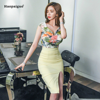Two Piece Set Women Summer Suits Set V neck Sleeveless Sexy Tops and Mini Skirt for Ladies Print Women 2 Piece Set Split Clothes