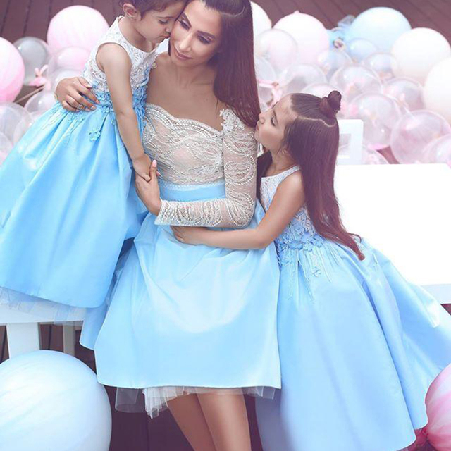 358ff9b34c robe de cocktail Mother and Daughter Gown Short Prom Dresses with Long  Sleeve Light Blue Baby